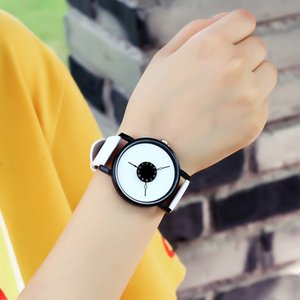 Hot fashion creative watches women men quartz-watch brand unique dial design lovers' watch leather wristwatches ladies clock on Sale