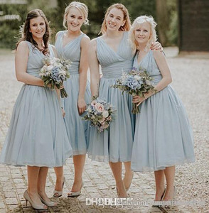 Sexy V Neck Dusty Blue Country Bridesmaid Dresses With Draped Beach Wedding Guest Gowns Tea Length Maid Of Honor Formal Party Dresses Custom on Sale