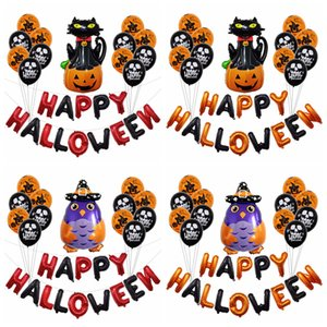 Wholesale 16 inch Halloween Pumpkin Party Decoration Balloon Scene Layout Letters Halloween Balloons Party Supplies styles RRA2124