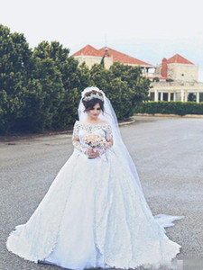 Wholesale ballgown wedding dresses resale online - Elegant Bateau Ballgown Wedding Dresses Long Sleeves Scalloped Neckline Covered Buttons Back Chapel Train Lace Applique Tiered Wedding Gown