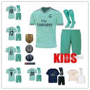 Wholesale 2019- 2020 Real madrid kids kit Soccer jerseys THIRD GREEN 19 20 BENZEMA MODRIC isco MARCELO bale ASENSIO camiseta de futbol FOOTBALL SHIRTS