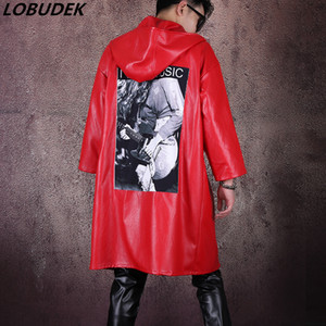 Wholesale Punk Style Tide Male Singer Red Leather Hooded Jacket DJ Costume PU Cloak Loose Hip-Hop Coat Wind Coats Street Dance Overcoat