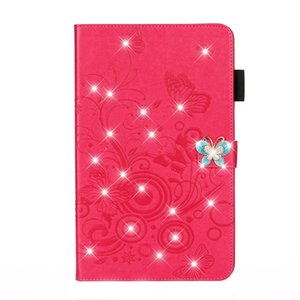 Wholesale Case For iPad Mini Mini Case Luxury Crystal Diamond bow knot Butterfly Flip PU Leather Wallet Cover Auto Wake up