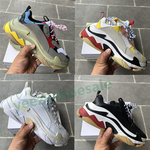black white red triple s Paris casual shoes mens beige green yellow grey gym red blue men women sneakers US5.5-11