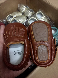Free DHL INS New Rubber Sole Genuine Leather Baby Girls Boys Handmade Toddler Hard Sole First Walkers Baby Leather Shoes for 0-2T