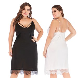 2019 fat MM large size women's summer new sexy V-neck sling lace dress