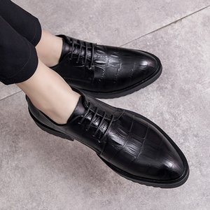 Autumn Business England Dress Wedding Shoes Solid Color Comfortable Breathable Casual Shoes Pointed Men's Genuine Leather