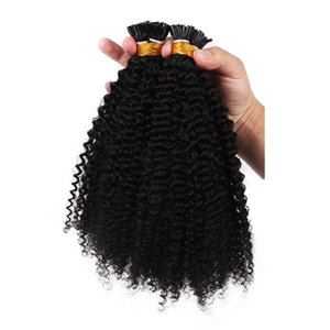 2019 Hot selling i Tip Hair Extensions Kinky Curly Raw Mongolian Kinky Curly Hair 1G strand natural color virgin hair