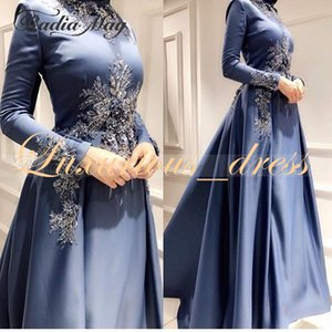 Wholesale Arabic Blue Satin Kaftan Dubai Long Sleeves Evening Dress with High Neck Beaded Muslim Formal Prom Dresses 2019 robes de soirée