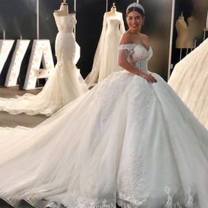 Ball Gown Luxury Princess Wedding Dress Off Shoulder Beadings Cap Sleeve Lace Appliques Gorgeous Bridal Gowns Customize Plus Size