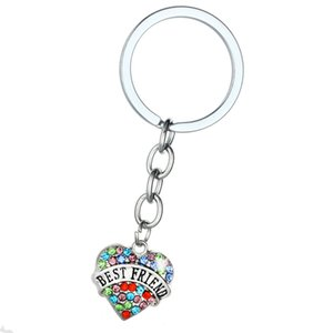 Wholesale moon shaped jewelry for sale - Group buy Heart Shape Crystal Key Chains Jewelry Best Friend Vintage Silver Colorful Diamond Keychain Key Rings Fashion Family DAD MOM Charms Keyrings