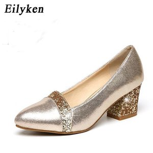 Wholesale Designer Dress Shoes Eilyken New Arrival Spring Women Pump Patch Color Lady Square toe cm Thick heel Career Golden Black size