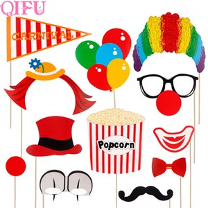 Wholesale 12pcs Circus Clown Birthday Photo Booth Props DIY Fun Circus Joker Photobooth Props On A Stick Birthday Party Wedding Decor