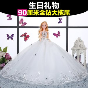 Wholesale Doll Princess Single Super Tailing Centimeter Wedding Dress Bride Goods Of Furniture For Display Rather Than For Use Girl Birthday Toys