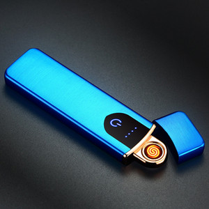 electric lighter usb rechargeable Lighter coil heater cigar lighter touch control sensitive switch case blue red gold silver black h0950