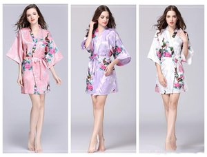 Wholesale Floral Kimono pajams summer girls lady nightdress 12 styles silk sleepwear women night gown V-neck pjms