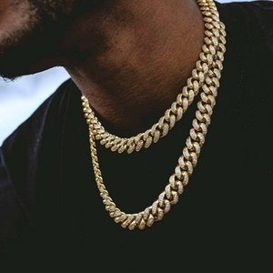 Hip Hop Bling Chains Jewelry Men Iced Out Chains Necklace 14k Gold Silver Miami Cuban Link Chains on Sale