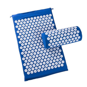 Blue Acupressure Massager Cushion Relieve Stress Pad Back Body Pain Spike Relaxation Yoga Shakti Mat with Pillow Feminina Mujer