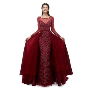 Wholesale New Formal Red Lace Evening Dresses for Favorite Sexual Clothes Mermaid Elegant for Prom Dress Special Occasion Dresses