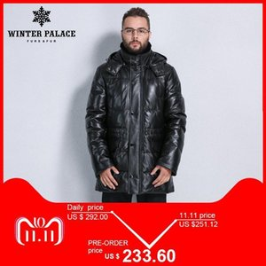Suit Style Leather Jacket Men Bring Hat Leather Jacket Internal Cotton Mens Genuine Warm Jaqueta De Couro on Sale