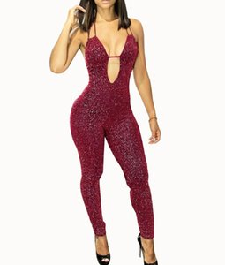 Wholesale 2019 Spring Lace Up Long Jumpsuits Skinny Sexy Womens Sleeveless Deep V Neck Rompers Black Wine Red Backless Playsuit