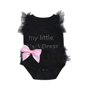 Wholesale Baby girls printing lace bow rompers letter My Little Black White Pink infant unicorn Jumpsuits kids Climbing clothes top quality
