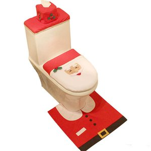 Wholesale Christmas Bathroom Toilet Seat Cover Happy Santa Rug Toilet Foot Pad Seat Cover Cap Bathroom Set New Year Navidad Christmas Decor Home