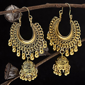 Wholesale Hollow Flower Indian Jhumka Fringed Tassel Earrings For Women Gypsy Jewelry Gold Sliver Color Boho Vintage Ethnic Drop Earrings