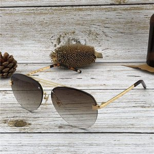 Wholesale New fashion designer sunglasses S frameless pilot frame hot sale casual men outdoor protection eyewear with orange box