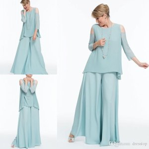 Wholesale lilac mint green wedding for sale - Group buy Mint Green Chiffon Mother Of The Bride Pants Suits Scoop Neck Wedding Guest Dress Floor Length Long Sleeve Evening Gowns