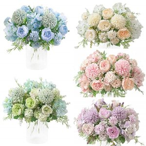 Wholesale Silk Peony Hydrangea Bouquet Artificial Realistic Plastic Carnations Peony Hydrangea Flower Bouquet Wedding Party Home Garden Decoration