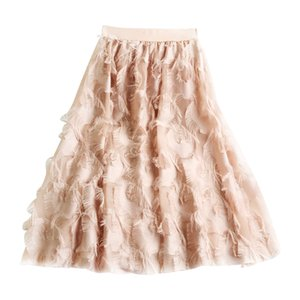 2019 Fashion Women Skirt High Waist Fake Elegant Chiffon Feather Pattern Tulle Skirts Elastic Tassel Pleated Midi Skirts