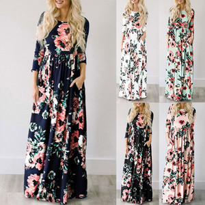 Wholesale Maxi Dress Summer Floral Print Long Dresses Boho Beach Dress Tunic Evening Party Sundress Vestidos largos mujer
