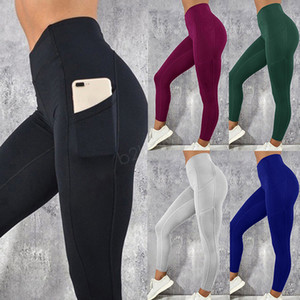 Wholesale Women Legging With Pocket Workout Yoga Fitness Skinny Tights Gym Sport Stretch Fit Solid Jogging Slim Pants Bottoms LJJA2867