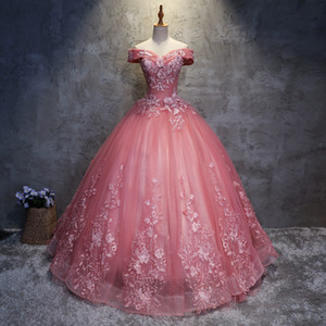 Wholesale 2020 Quinceanera Dresses appliques Elegant Beautiful Vestidos De Party Prom Formal Floral Print Ball Gowns Vestidos De Anos QC1468