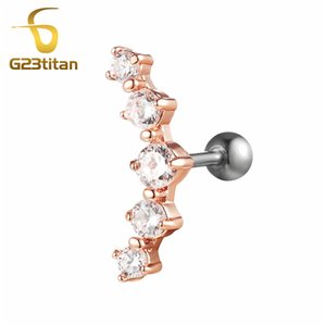 Wholesale G23titan Fashion Woman Earrings Rose Gold Ear Tragus Cartilage Helix Piercing Studs g Titanium Labrets Barbell Body Jewelry