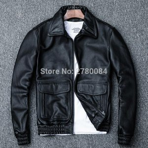 Factory Men Leather Jacket Genuine Real Leather Cowhide Skin Brand Black Male Bomber Motorcycle Biker Mans Coat Autumn Spring