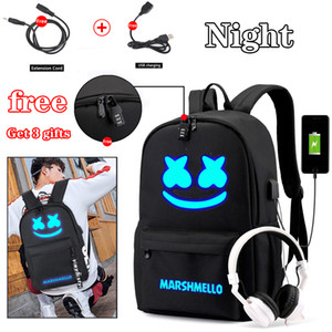 Wholesale BPZMD DJ Trendy Anti theft Usb Men Laptop Backpack for Girls Boys Teenagers Childrens Marshmello School Bag Women Cool Bookbag