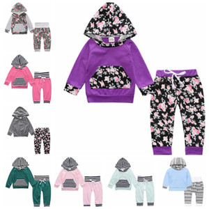 Wholesale Ins Baby Outfits Flower Infant Girl Hooded Coats Pants Sets Long Sleeve Newborn Clothes Set Cute Child Suits Baby Clothing DW4425