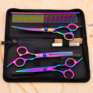Wholesale Cool Colorful Hair Cutting Scissors Clippers Flat Tooth Cutting Pet Beauty Tools Set Kit Dogs Grooming Hair Cutting Scissors Set