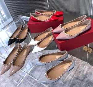 Wholesale 2019 New Luxury design casual shoes Popular Women's Flat Rivet Espadrilles Shoes Casual Leather Flat shoes big size 41 4254120