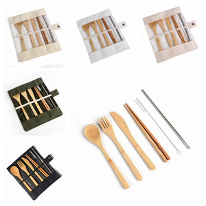 Portable Cutlery Set Bamboo Flatware Set Knife Fork Spoon Straw Brushes Outdoor Travel Dinnerware Set With Cloth Bag 7pcs set LJJA3341-1