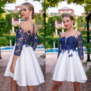 Lace Short Homecoming Dresses 2020 Sheer Long Sleeves Satin Ruched A Line Appliques Formal Prom Party Dresses With Buttons