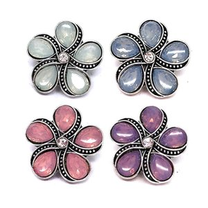 Wholesale w089 Flower 3D 18mm 25mm 30mm Metal Snap Button For Bracelet Necklace Interchangeable Jewelry Women Accessorie Findings