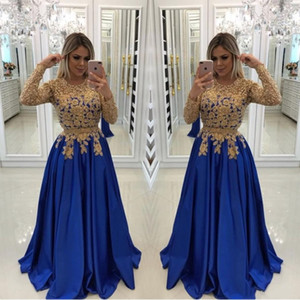 Wholesale Sexy Royal Blue With Gold Lace Beads Evening Dresses Caftan Formal Gowns Illusion Long Sleeves Sequins Satin Prom Pageant Dress Evening Wear