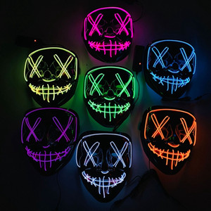 Wholesale Neon LED Halloween Mask Glow In Dark Mask Light Up Scary Skull Face Mask Funny Masks Masquerade Masks Party Cosplay Supply Gift DBC VT0382