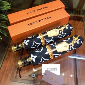 Wholesale Luxuries Designer Brand fashion cat pattern Umbrella Classic Women Automatic Luxuries Vintage logo Umbrella for Rain or sunshie gift Box