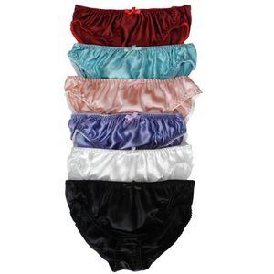 """6pcs Women's Silk Bikini Underwear Briefs Size S M L XL XXL(W26""""-40"""")"""