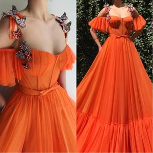 2020 Pumpkin Evening Dresses Saudi Arabic Sexy 3D Lace Butterfly Straps Formal Prom Gowns Special Vestidos robe de soiree BC2476 on Sale