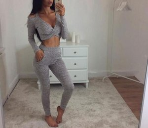 Wholesale Hot sale off the shoulder long sleeved vest trousers two piece women sets V neck pull over casual sport women sets
